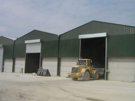 Industrial roller shutters for grain store