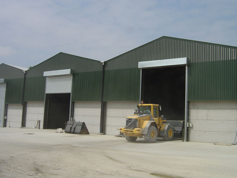 Industrial roller shutters for grain store