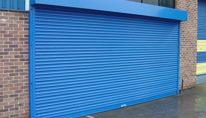 Closed blue garage door