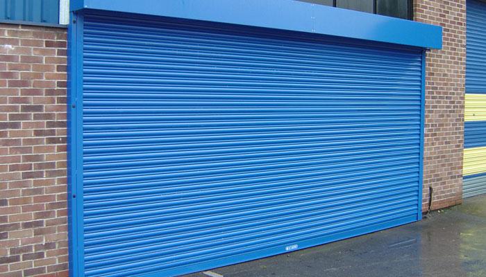 Closed blue garage door