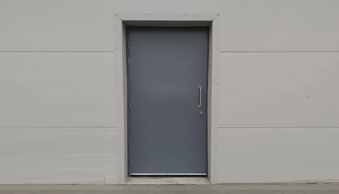 Grey industrial fire resisting steel door
