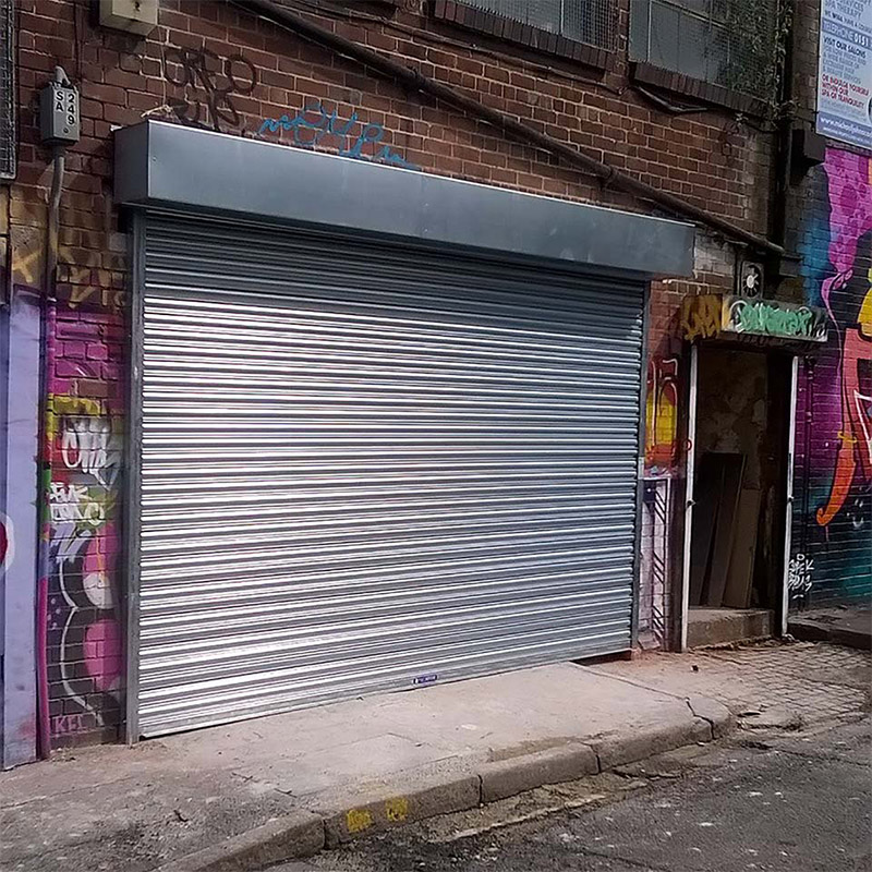 Large silver roller shutter closed