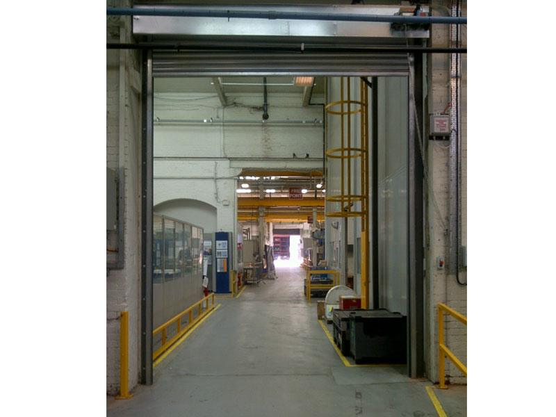 Warehouse entrance with fire resistant roller shutter