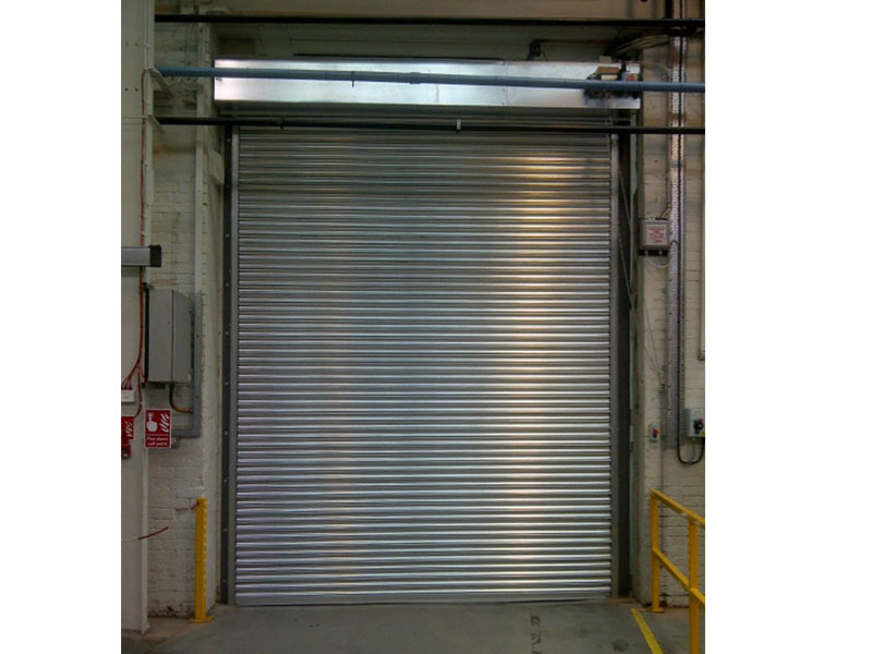 Fire resistant roller shutter on warehouse