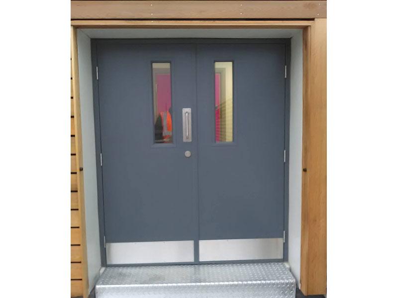 Fire resistant steel double doors
