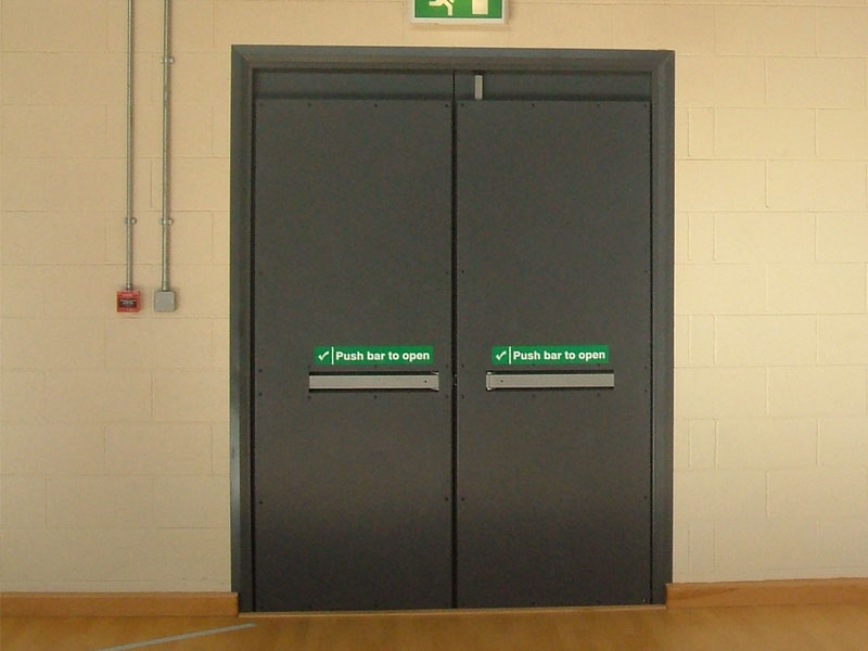 Sports hall double fire doors
