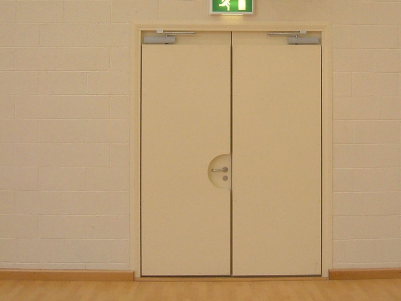 Sports hall steel double doors