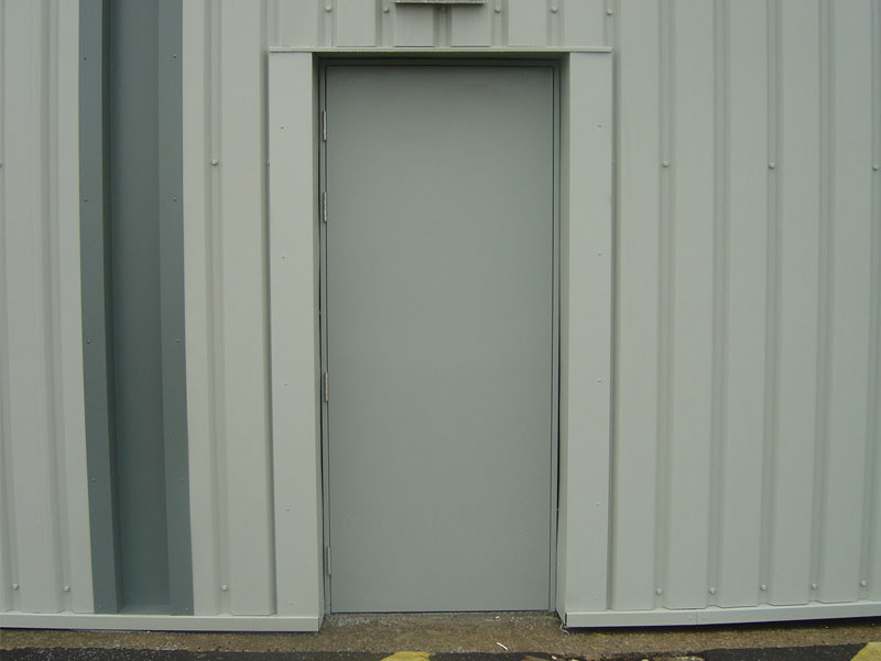 Closed grey steel security door