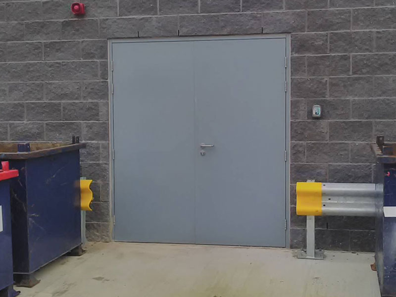 Grey steel security double doors