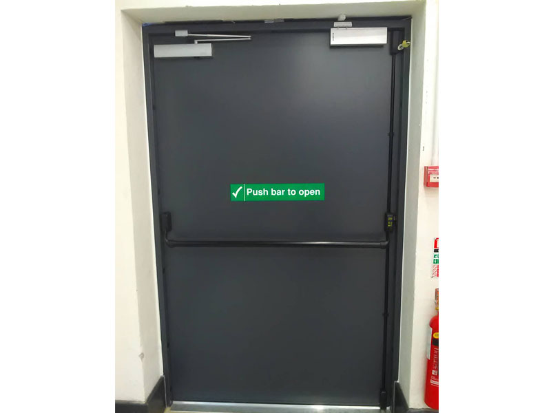 Wide fire exit steel door