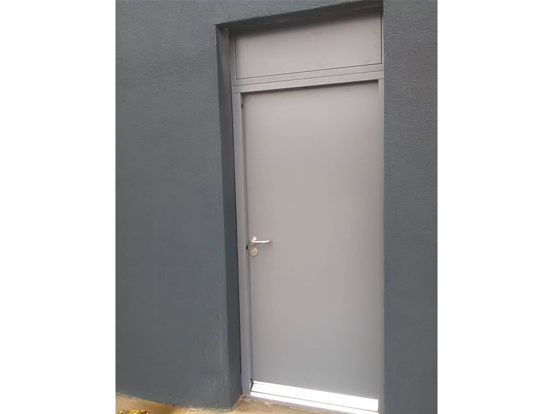 Grey steel security door