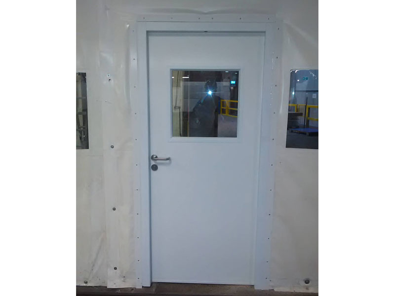 White steel security door with window