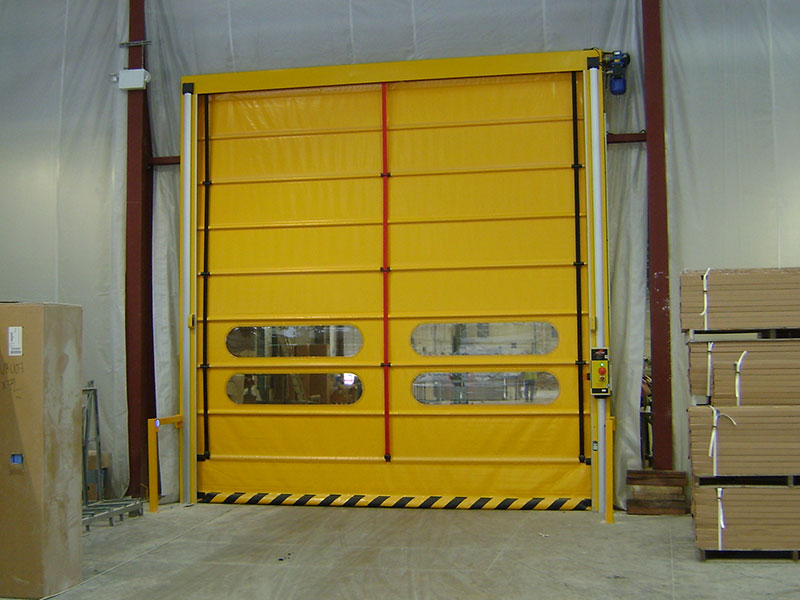 High speed door and roller shutters in closed position