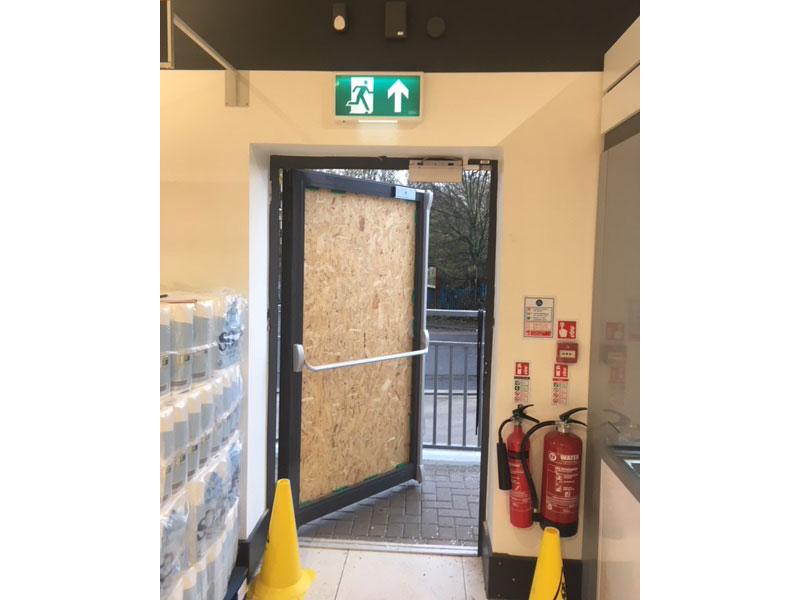 Sunderland project - fire escape door - steel security door