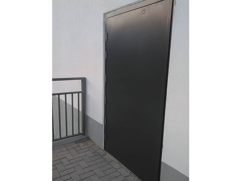 Sunderland project - painted exterior steel security door