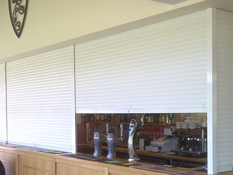 internal continental style roller shutters used for bars