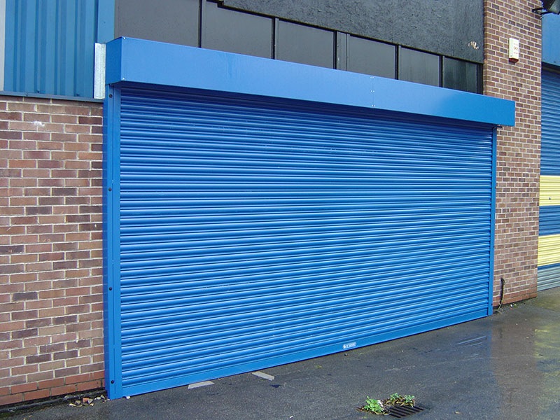 Commercial roller shutter door in blue