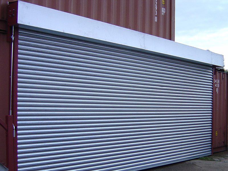 Roller shutters in commercial unit