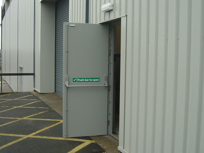 Open commercial fire exit door