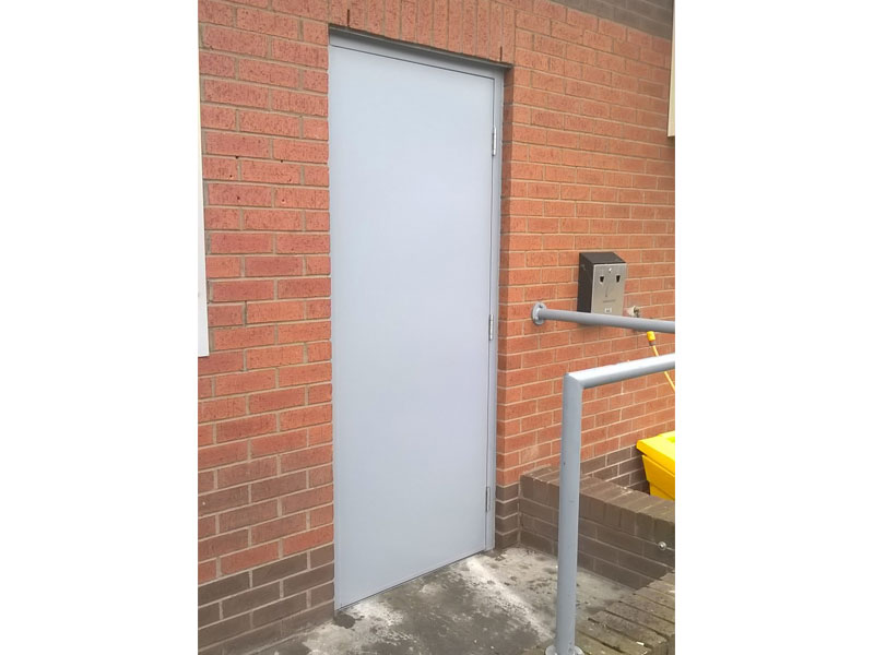 Steel fire door exit no handle