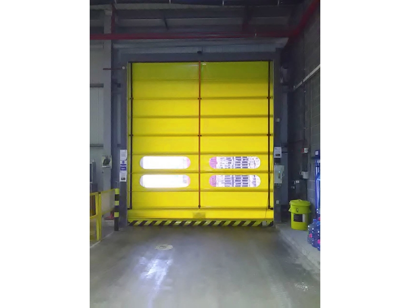 Hi-speed industrial roll up doors from inside