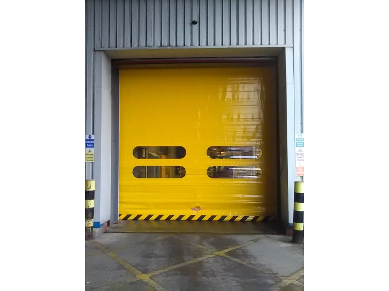 Hi-speed industrial roll up doors from outside