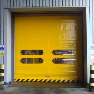 Hi-speed industrial roll up doors installed at a packaging warehouse