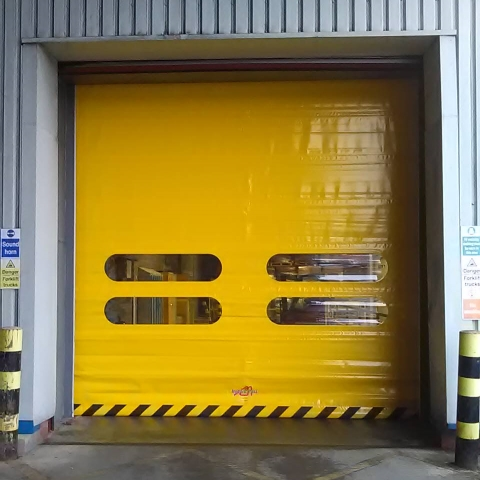 Hi-speed door installed at a packaging warehouse