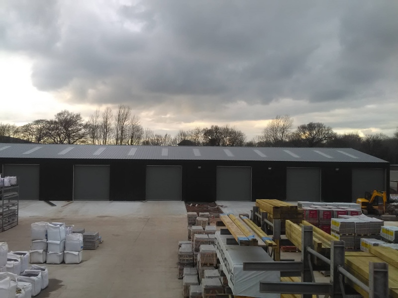 View of closed commercial shutters fitted at a timber merchants