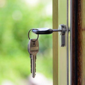 Keys hanging in a door