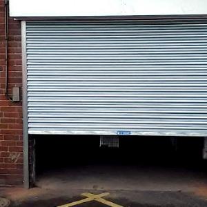 A partly open roller shutter