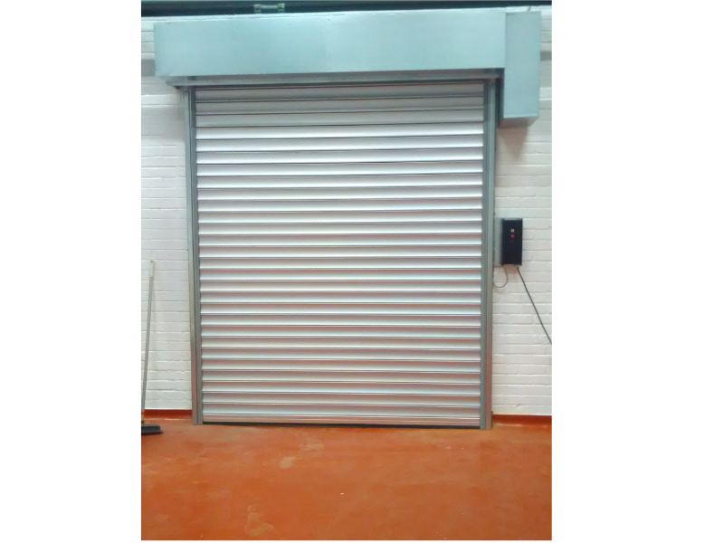 roller shutter with blue surround
