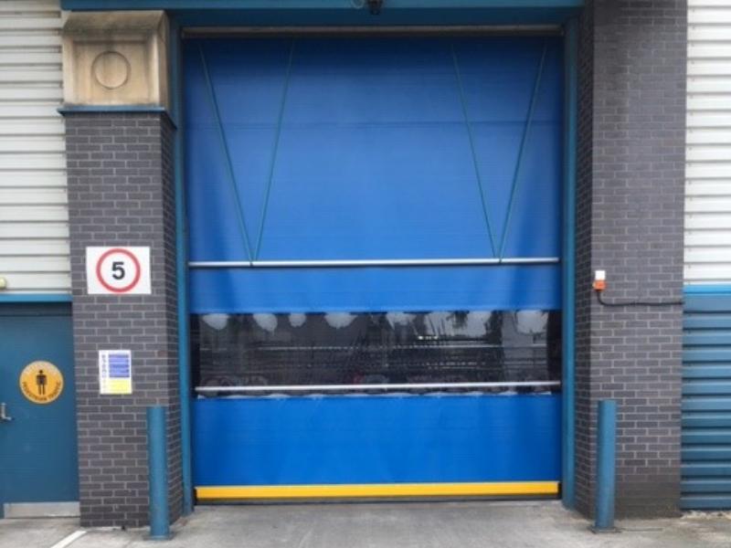 Blue high speed door