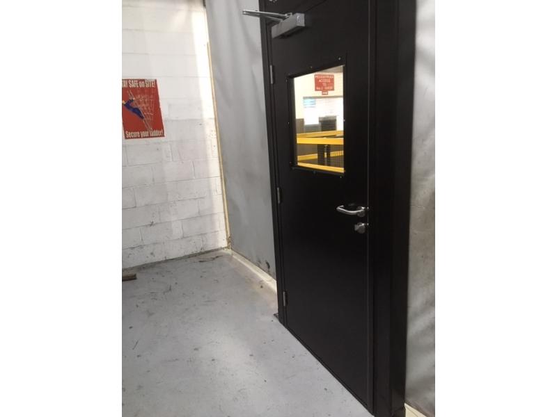 Steel door in industrial curtain