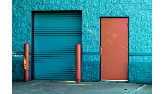 Teal high security doors